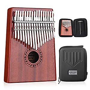 GECKO Kalimba 17 Keys Thumb Piano Builts-in EVA High-Performance Protective Box, Tuning Hammer and Study Instruction.