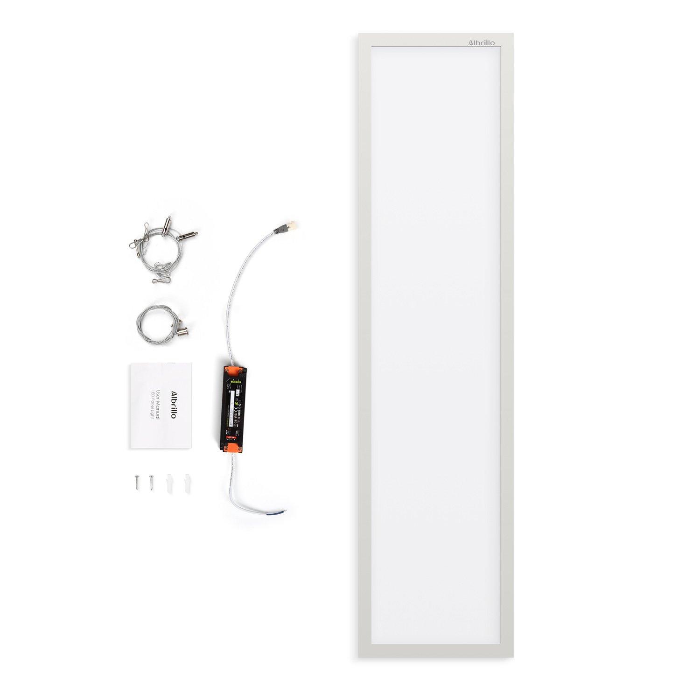 Albrillo LED Panel 120x30cm - 40W Dimmbar und Farbtemperatur Einstellbar (2700-6500K), LED Deckenleuchte mit Fernbedienung, Büroleuchte Inkl. LED Trafo und Weiß Aluminiumsrahmen[Energieklasse A++] PL3034
