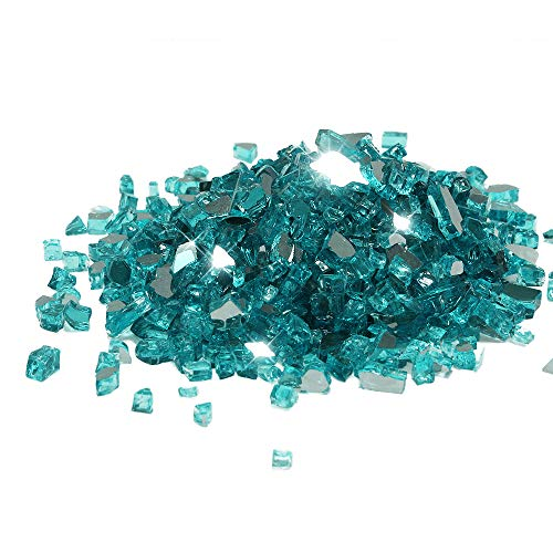 Golden Flame 10-Pound Fire Glass 1/2-Inch Caribbean Blue Reflective
