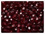 50pcs Czech Fire-Polished Faceted Glass Beads Round 6mm, Dark Ruby (Garnet)