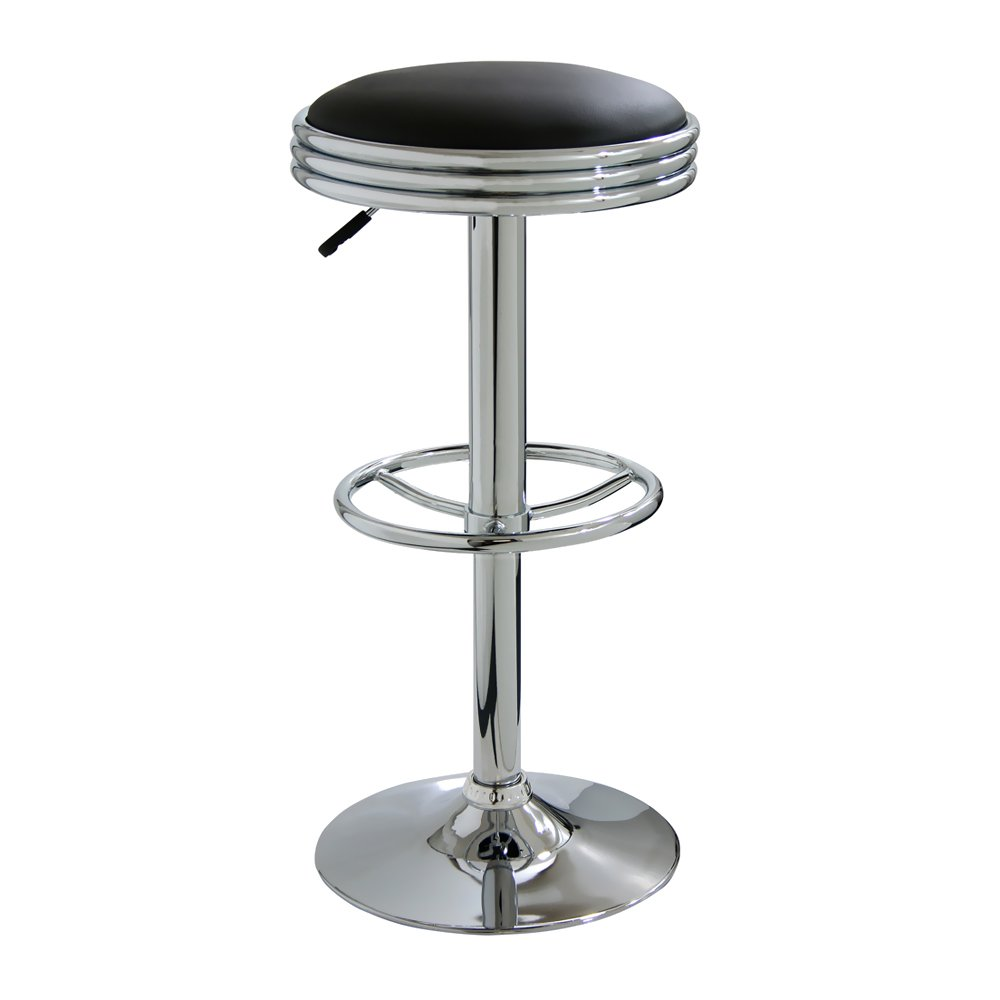 Offex Game Room Soda Fountain Style Bar Stool - Black