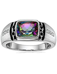 Men's Sterling Silver, Mystic Fire Topaz, and Diamond Ring (0.048 cttw, I-J Color, I2-I3 Clarity)