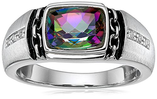 Men's Sterling Silver Mystic Fire Topaz and Diamond Ring (0.048 cttw, I-J Color, I2-I3 Clarity), Size - Mystic Ring Topaz Diamond