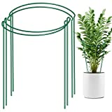LEOBRO 4 Pack Plant Support Stake, Metal Garden Plant Stake, Green Half Round Plant Support Ring, Plant Cage, Plant Support for Tomato, Hydrangea, Rose, Vine (9.4' Wide x 15.6' High)