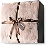 Luxury Faux Fur Throw Blanket Super Soft Oversized Thick Warm Afghan Reversible to Plush Velvet in Tan Grey Wolf, Cream Mink or Blush Chinchilla, Machine Washable 60 by 70 Inch (Rose Dust)