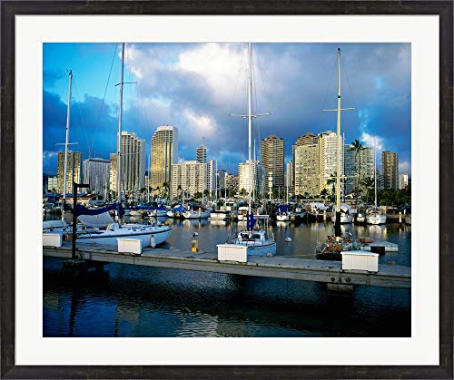 Sailboats docked in a Harbor, Ala Wai Marina, Waikiki Beach, Honolulu, Oahu, Hawaii, USA Framed Art Print Wall Picture, Espresso Brown Frame, 38 x 32 inches