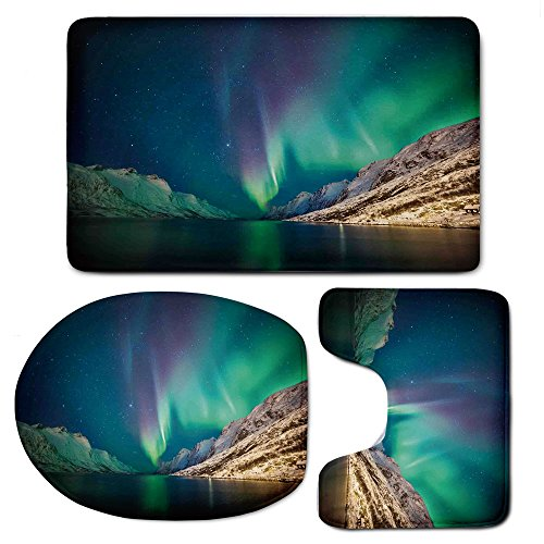 3 Piece Bath Mat Rug Set,Nature-Decor,Bathroom Non-Slip Floor Mat,Mystical-Northern-Lights-above-Rocky-Hills-Magnetic-Poles-Solar-Space-Panorama,Pedestal Rug + Lid Toilet Cover + Bath Mat,Jade-Green by iPrint