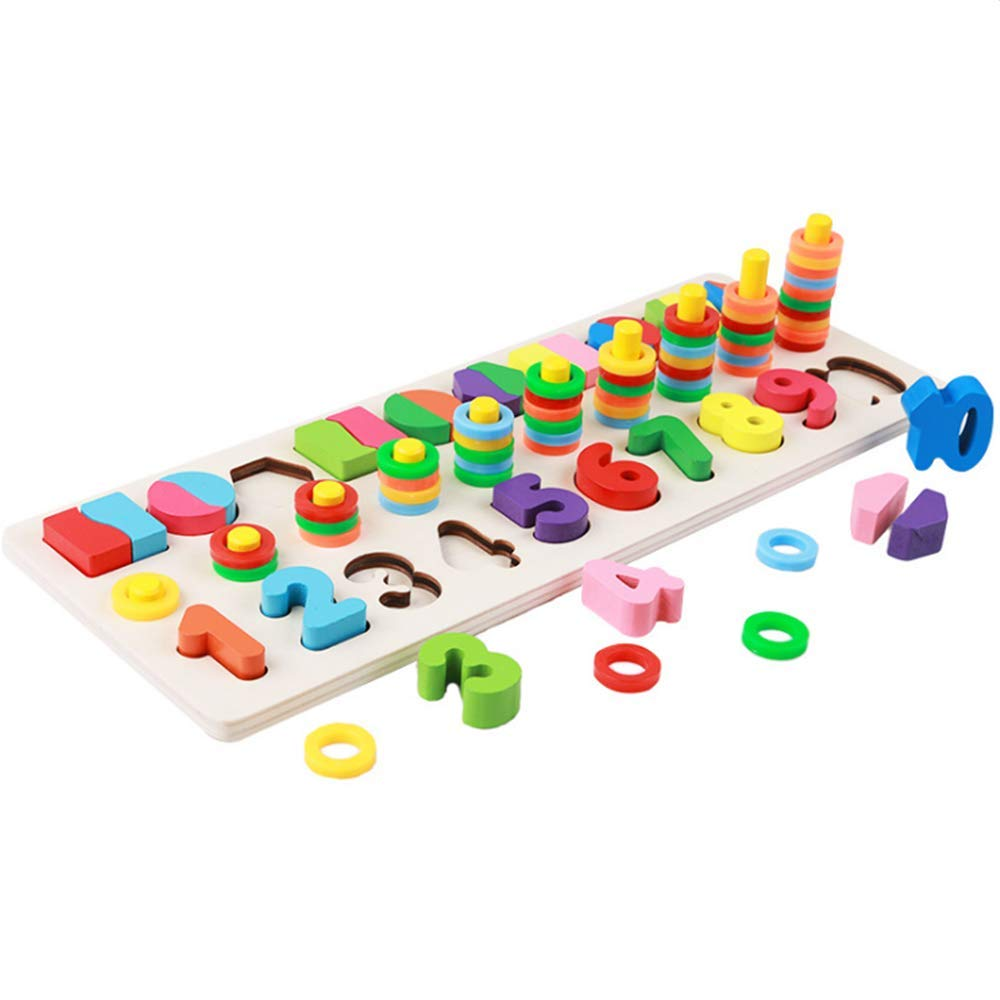 8fa44b5e8c57 Amazon.com  Muyindo Montessori Materials Wood Math Blocks Shape Sorter  Number and Stacking Learning Toys