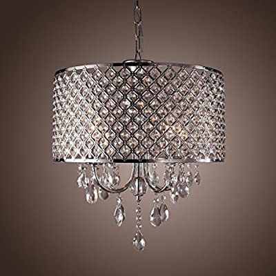 Mirrea® Crystal Chandelier Pendant Light, 4 Lights, with Crystal Beaded Drum Shade