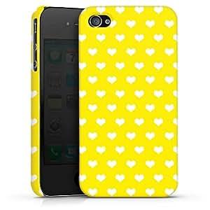 Carcasa Design Funda para Apple iPhone 4 / 4S PremiumCase white - Polka Hearts - gelb und weiß
