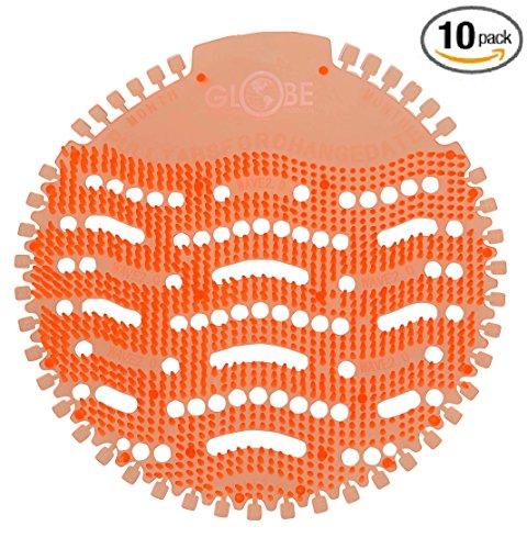 10 Pack - Anti-Splash Urinal Screen Orange Mango by Globe Commercial Products