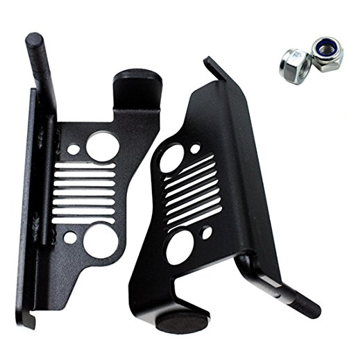 iFJF Black Powder Coated Solid Oxidized Iron Front Foot Pegs for 2007-2017 Jeep Wrangler Jk & Unlimited - 1 Pair (FP01-1pair)