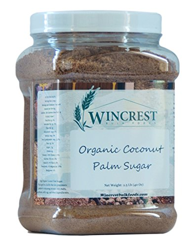 Organic Coconut Palm Sugar - 2.5 Lb (40 Oz) Tub by WinCrest BulkFoods