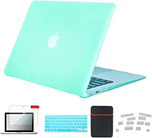 Se7enline MacBook Air 13 inch Case Model A1369/A1466 5 in1 Set Laptop Hard Case Soft Sleeve Bag Screen Protector Skin Silicone Keyboard Cover Dust Plug for MacBook Air 13 inch, AquaGreen