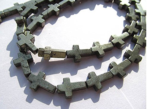2strands 10x10mm Pyritre stone Natural Genuine Pyrite Cross Gemstone Beads for Jewerly Making Findings
