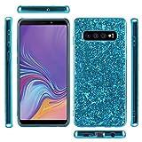 Galaxy S10 Plus Case, Ranyi Full Body Glitter Shiny Sparkle Bling Rhinestone Design Slim Fit Flexible Electroplated TPU Bumper Shock Absorbing Rubber Case for Samsung Galaxy S10 Plus (2019), Blue