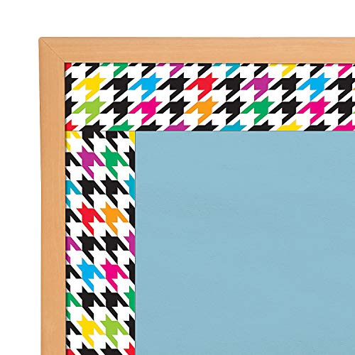 Fun Express - Houndstooth Multicolor Bb Borders - Educational - Classroom Decorations - Bulletin Board Decor - 11 Pieces