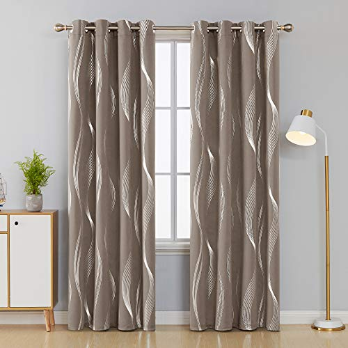 Deconovo Khaki Blackout Curtains Room Darkening Foil Print Wave Stripe Design Thermal Insulated Grommet Window Drapes… 2