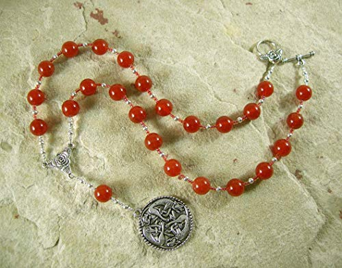 Freyja (Freya) Prayer Bead Necklace in Carnelian: Norse Goddess of Love, War and Magic