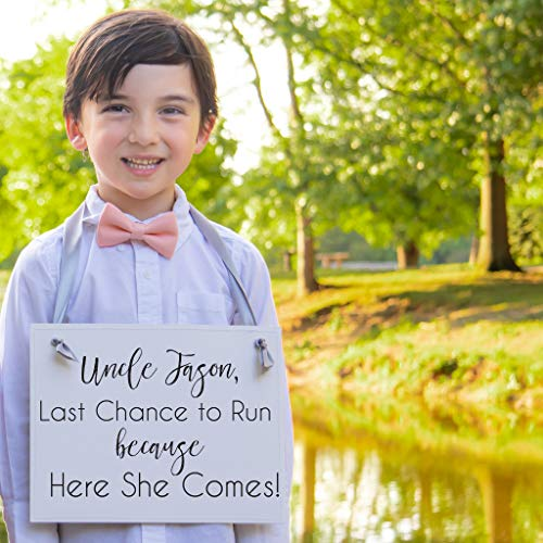 Custom Wedding Ring Bearer Sign - Uncle Last Chance To Run Sign {Personalized with Custom Groom's Name} Handcrafted Accessory for Flower Girl or Ring Bearer | Niece or Nephew of Bride and Groom]()