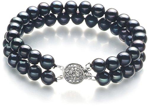 7mm Genuine Black Pearl Bracelet - 6