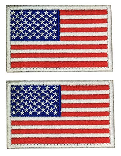 - SpaceAuto American Flag Patch Emblem White Border USA Military Uniform Iron Emblem,2 Pack