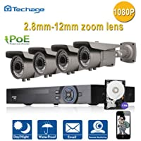 Techage 8CH 1080P POE NVR + 4CH Cameras CCTV System Set Home Security Surveillance Kit 2.8-12mm Zoom Pan-Tilt-Zoom With 1TB Hard Drive