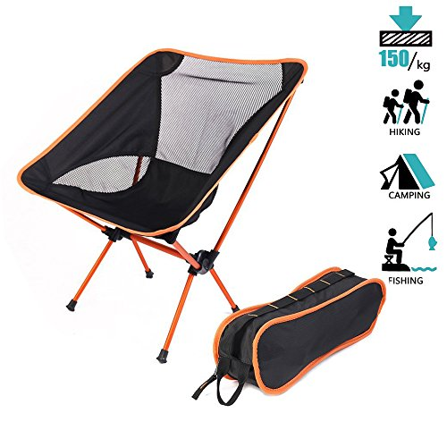 Portable Folding Chair, Heavy Duty Ultralight Foldable Chair with Carry Bag for Travel and Outdoor (2lb) (Orange)