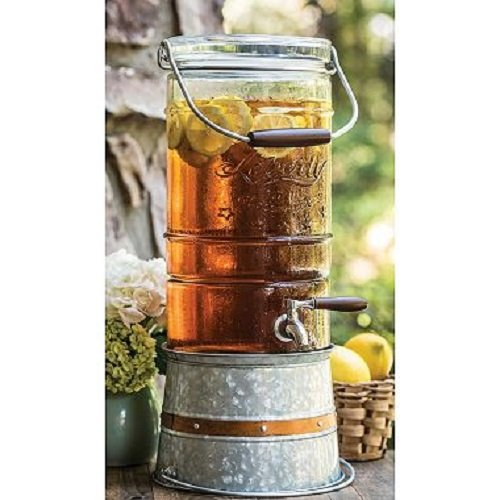 Liberty Glass 2.5 Gallon Glass Beverage Dispenser with Galvanized Steel Frame Vintage ()