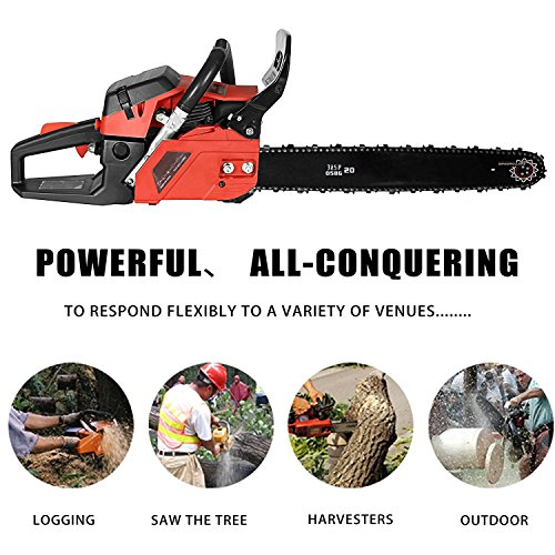 Lantusi Rancher 20-Inch 58CC 2 Strokes Gas Powered Chain Saw 3.5HP Tree Chainsaw (58cc) by Lantusi