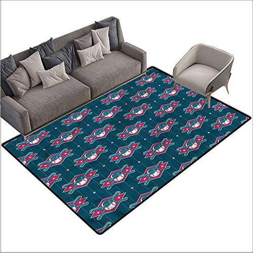 Tigers Small Baseball Rug - Polyester Non-Slip Doormat Rugs Colorful Sports,Modern Baseball Pattern 48