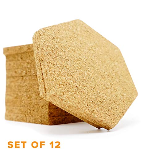 Cork Coaster Set of 12 - Keep Table Clear of Wine, Cappuccino, Beer or Other Drink Marks with Absorbent Coasters (Hexagon)