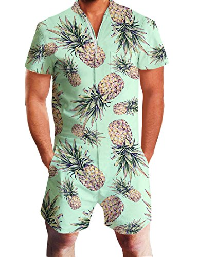 Uideazone Mens Pineapple Print Short Sleeve Romper Jumpsuit Overall Pants Beach Shorts,Pineapple,Medium
