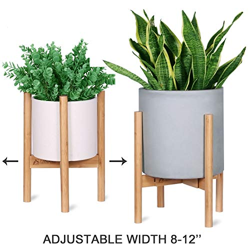 LEEPES Bamboo Plant Stand Adjustable Width, Mid Century Modern Planter Holder Display Potted Rack Home Decor Indoor Suitable for 8-12