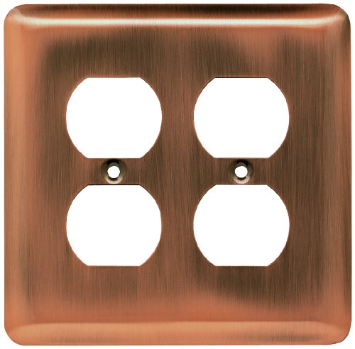 Franklin Brass 64069 Stamped Steel Round Double Duplex Outlet Wall Plate/Switch Plate/Cover, Antique Copper (Cover Plate Duplex Double)
