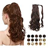 FEHSFEN 21' Curly Wrap Around Ponytail Hair Extensions Long Wavy Clip in Synthetic Hair Ponytail...