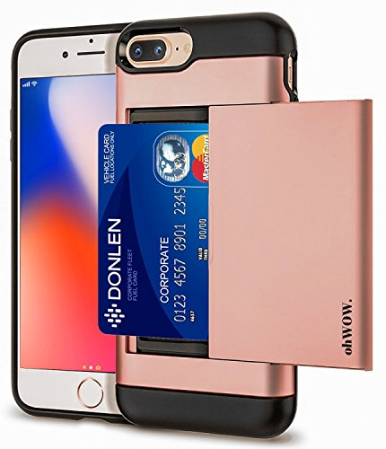 ohWOW. iPhone 7/iPhone 8 Plus card Case iPhone Case with Slim Dual Layer Wallet Design and Card Slot Holder for Apple iPhone 8 Plus (2017)- iPhone 7 Plus (2016) - Rose Gold By - Design Apple Iphone