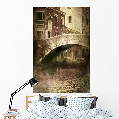 Vintage Shot Venetian Canal Wall Mural by Wallmonkeys Peel and Stick Graphic (60 in H x 40 in W) WM154453