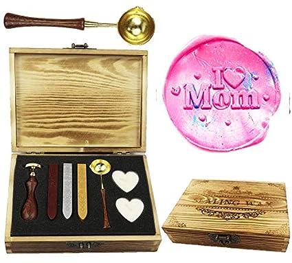 CTEB I Love Mother Heart Decorative Gift Monogram Wax Seal Stamp Kit Wood Handle Melting Spoon