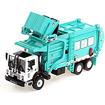 KDW 1/43 Scale Diecast Recycling Garbage Truck Toys for Kids with Bin (Green)