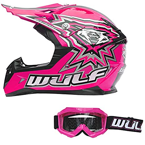 Wulfsport Kids Flite Motocross Motorbike Helmet off Road 49-50cm Wulf Cub Abstract Goggles Black M