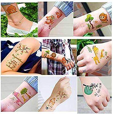 SIMUER Zoo Animales Tatuajes temporales, 20 Hojas Leones Cebra ...