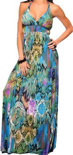 MAXI BOHO SUMMER GOWN VINTGE HALTER CELEBRITY BEACH PARTY DRESS