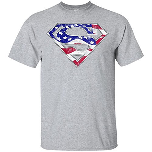 - Swag Attack Gear Superman American Flag T-Shirt-Sport Grey-X-Large