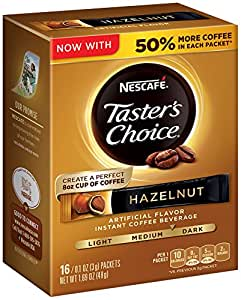 Nescafe Taster's Choice Instant Coffee Beverage, Hazelnut,16 - 0.1 oz packets(Pack of 8)