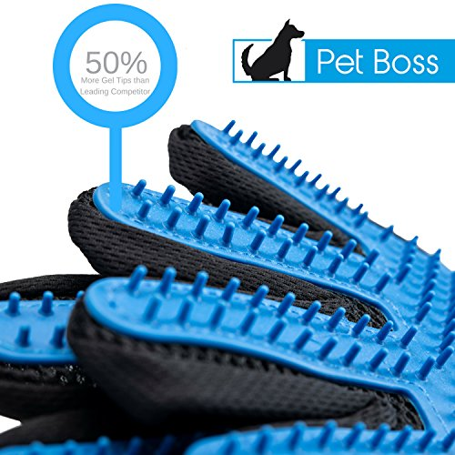 Pet Grooming Glove - Gentle Deshedding Brush Glove - Efficient Pet Hair Remover Mitt - Massage Tool with Enhanced Five Finger Design - Perfect for Dogs & Cats with Long & Short Fur by Pet Boss Co (Image #3)