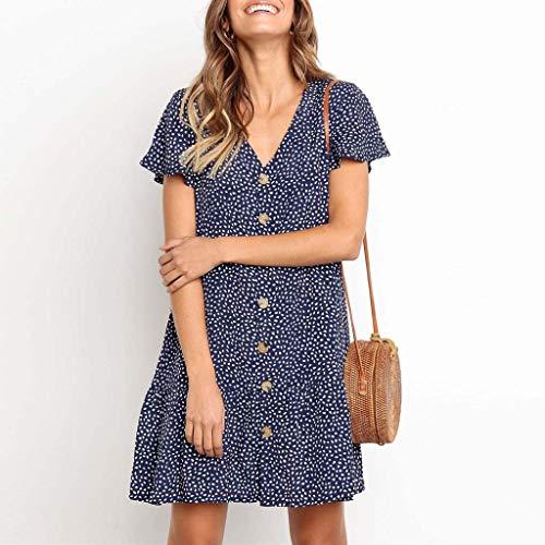 (CCOOfhhc Women Dresses Summer Polka Dot V Neck Mini Dress Button Down Ruffles Casual Loose Short T-Shirt Dress Blue)