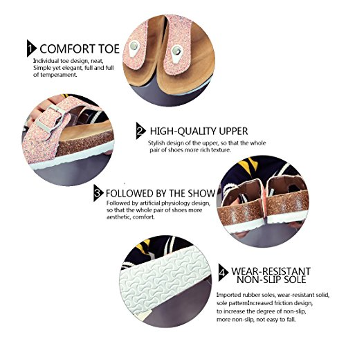 Beach Gold Summer Clip Toe Sequins Flops Non Flat Thong Flip Women's Cork Slip Sandals wXxYPqOwnF