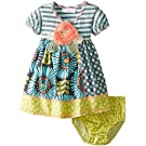 Bonnie Baby Girls' Striped Dress with Mixed Print Skirt, Aqua, 24 Months