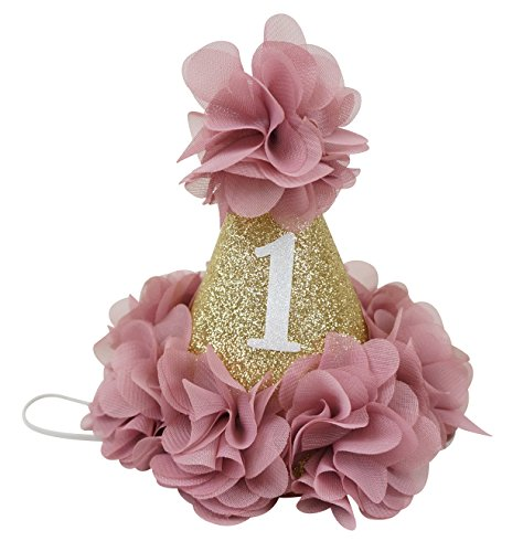 PoshPeanut Beautiful Baby Crown Headband Princess First Birthday Cone Hat Sparkle Dusty Rose and Gold Made in the (Homemade Christmas Costume Ideas Men)